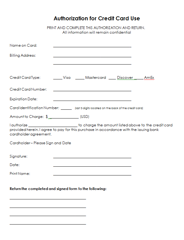 Authorization For Credit Card Use Free Authorization Forms