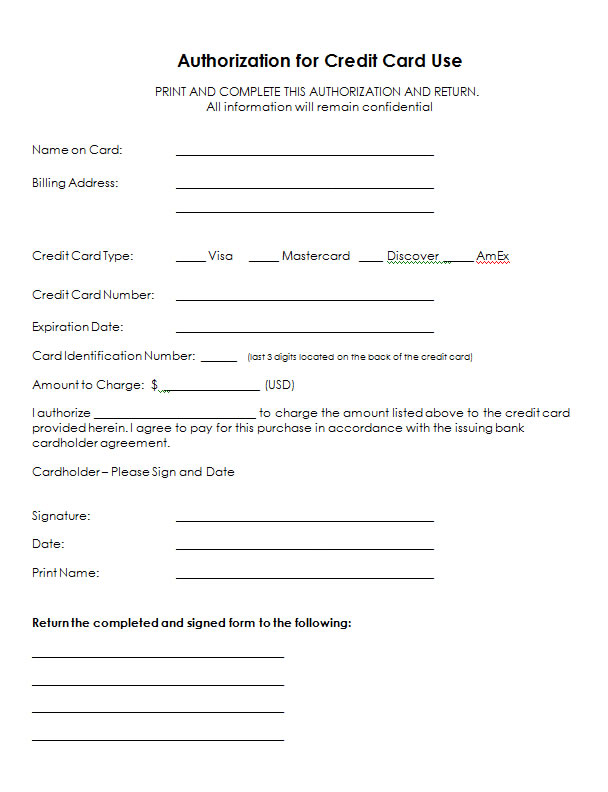 letter of authorization to use credit card authorization for credit card use free authorization forms 18101