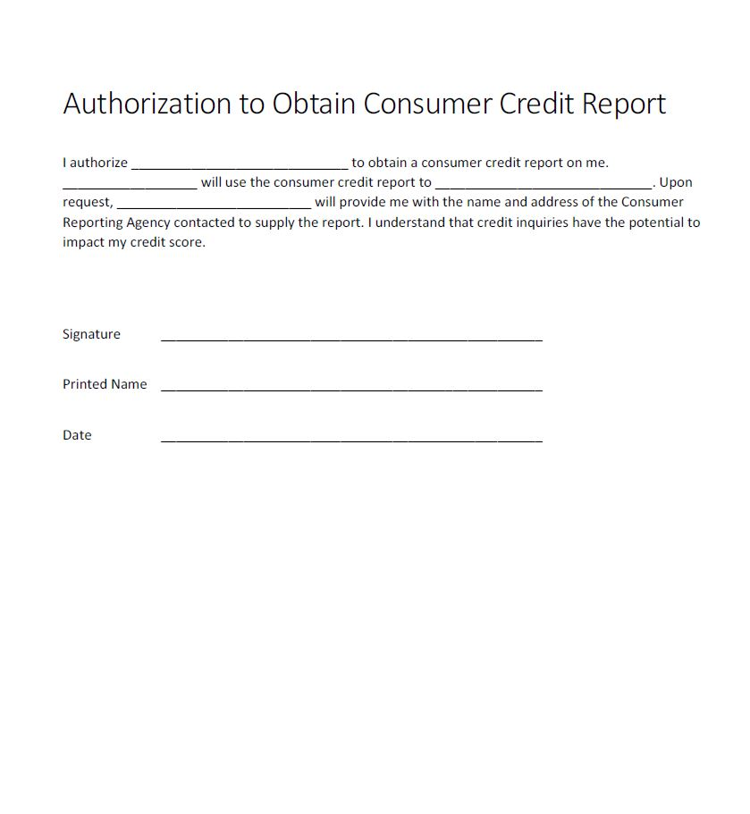 Authorization For Credit Check Form  Generic  Free Authorization