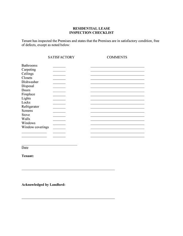 Inspection Checklist Apartment Inspection Checklist Apartment