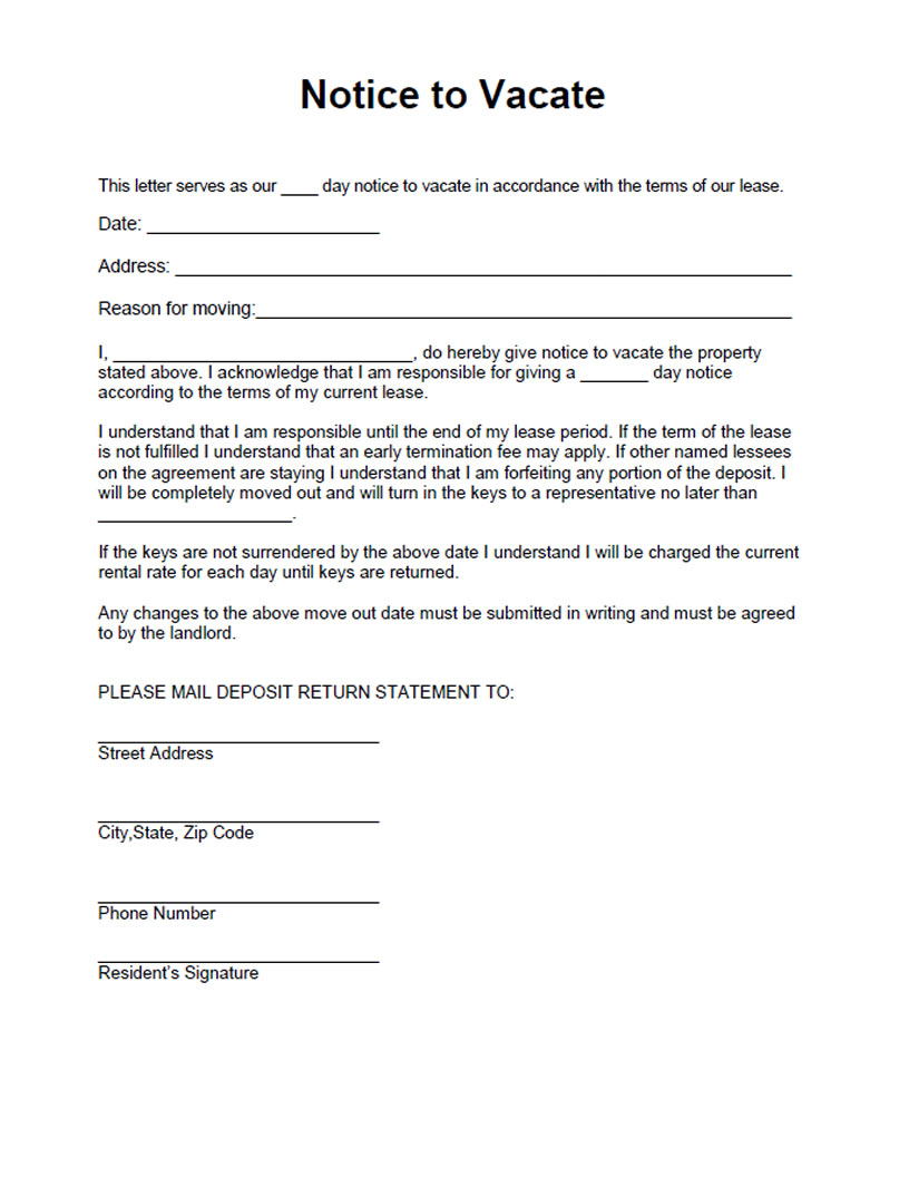 Notice to Vacate form. Free form for a residential landlord notice