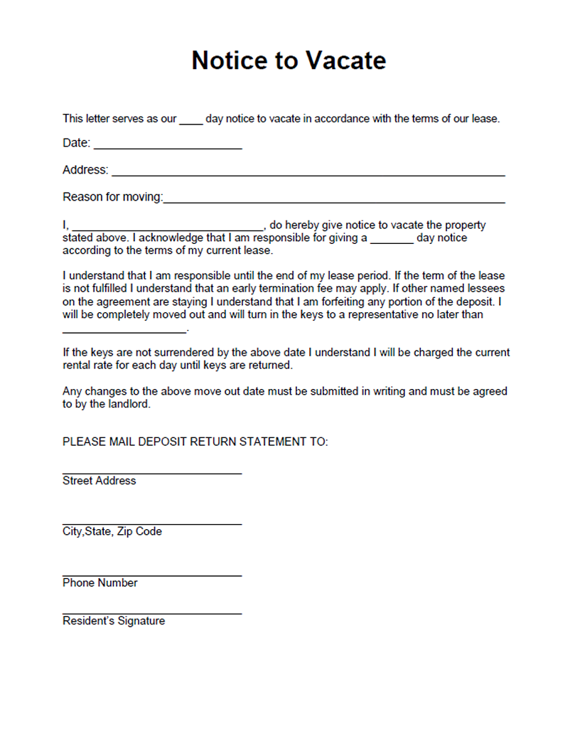 Notice to Vacate form Free form for a residential landlord notice – Notice to Vacate Letter