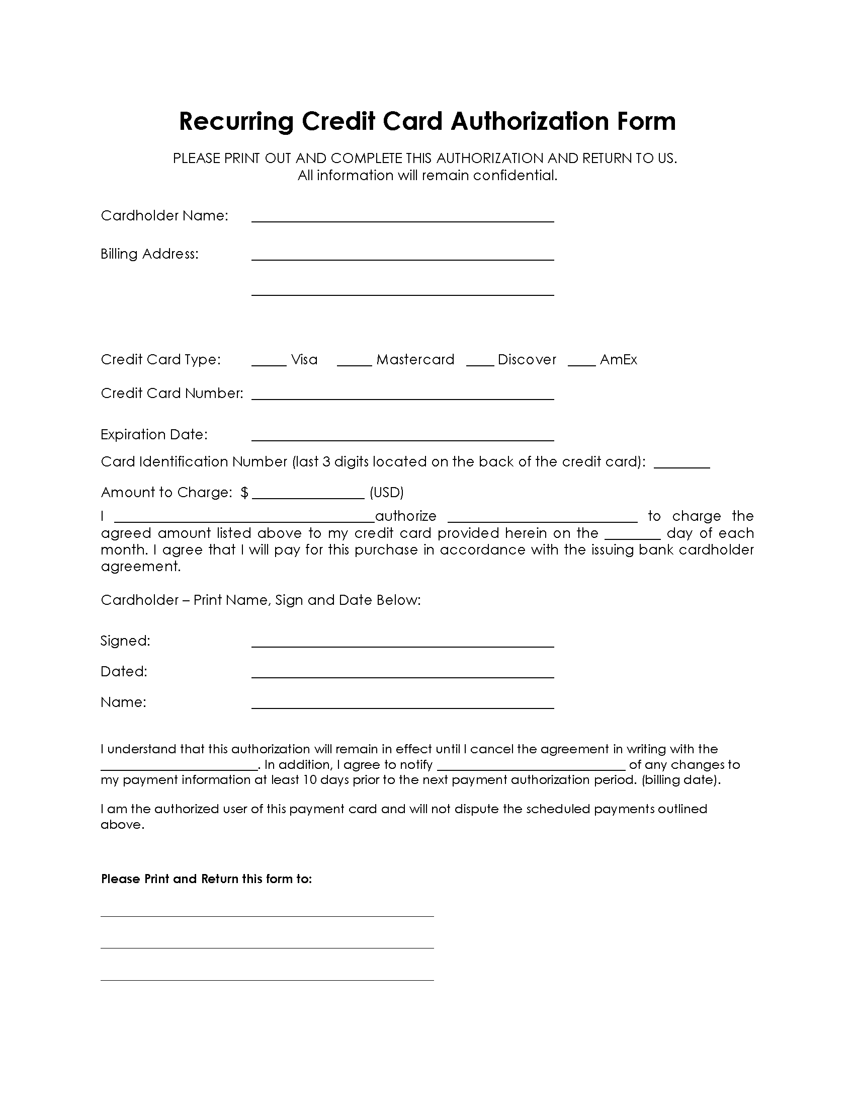 sample credit card authorization form 12 free documents in word