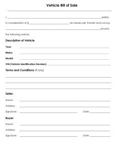 Vehicle Bill of Sale form - free